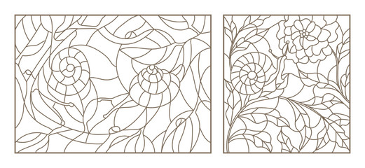 Set of planimetric illustrations of stained-glass windows with snails and plants