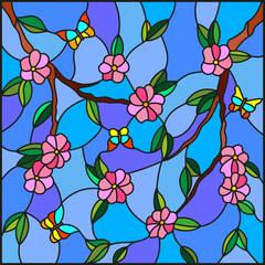 Illustration in stained glass style with abstract cherry blossoms and butterflies on a sky background