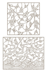 Set of planimetric illustrations of stained-glass windows with the blossoming branches of trees