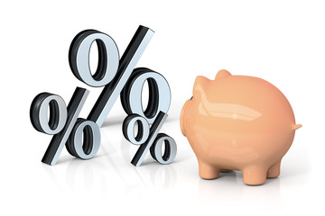 a piggy bank is looking for percentage