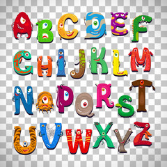 Monster alphabet on transparent background