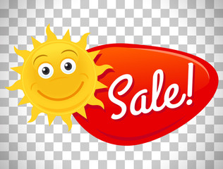 Summer sale label with smiling sun