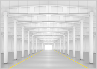 Interior of a large factory or warehouse, logistics center. Industrial building. Vector graphics