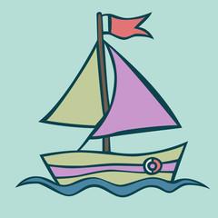 Vector illustration of a boat