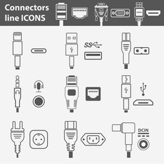 Computer interface ports vector icon set