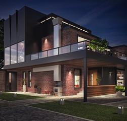 Modern house exterior 3D Rendering