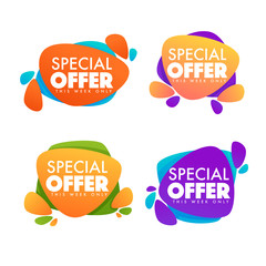 special offer, big sale, vector collection of bright discount bubble tags, banners and stickers