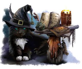 Magical black cat watercolor painting