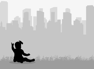 Vector isolated little baby sitting on the city background