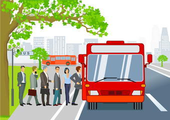 Bushaltestelle mit Linienbus und Fahrgästen