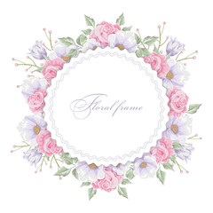 Floral round frame with  bouquets of flowers. Vector border.