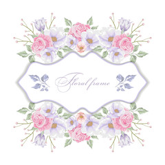 Floral frame with   bouquets of flowers. Vector border.