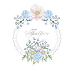 Floral round frame with     bouquets of blue flowers. Vector border.