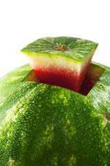 Watermelon isolated on white background. A piece of watermelon in the form of a trapezoid.