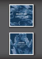 Blue Watercolor explosion shape artistic covers design set. Decorative texture paint fluid colors backgrounds. Trendy template vector illustration