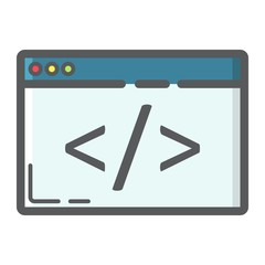 Custom coding filled outline icon, seo and development, browser programming sign vector graphics, a colorful line pattern on a white background, eps 10.