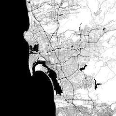 San Diego Monochrome Vector Map