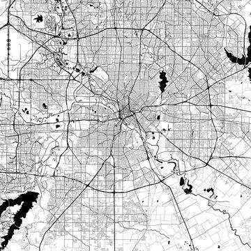 Dallas Monochrome Vector Map