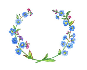 Frame from forget-me-nots, watercolor drawing isolated on white background with clipping path.