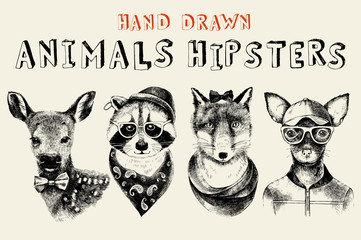 Fototapete - Hand drawn animals hipsters set in vintage style