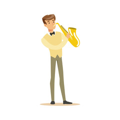 Musician playing a saxophone vector Illustration