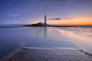 Sunrise over St. Mary's Lighthouse, Whitley Bay, England
