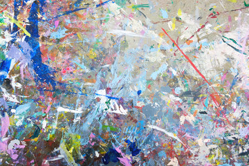 Strain of watercolor splash on the workshop table, abstract background