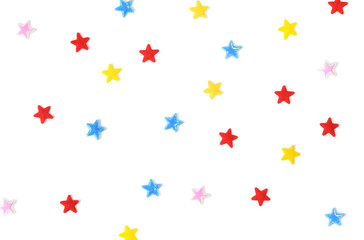 Many star paper cut on white background - isolated