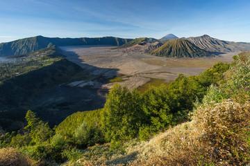 Landscape of Bromo, Batok, and Semeru volcano mountain, East Java, Indonesia