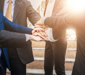 Business teamwork join hands support together and dedicated Concept