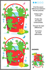 Picture puzzle: Find the seven differences between the two pictures of happy playful frogs and red bucket full of water. Answer included.
