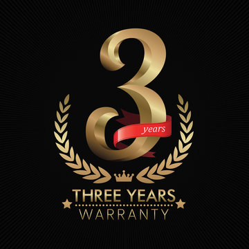 3 Years Warranty background with red ribbon. Poster, label, badge or brochure template. Vector illustration
