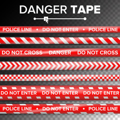 Do Not Enter, Danger. Security Quarantine Red And White Tapes. Isolated On Transparent Background. Vector Illustration