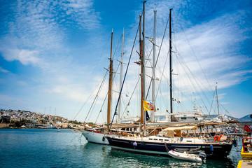 Luxury yacht under clouds at the dock. Marina Zeas, Piraeus,Greece