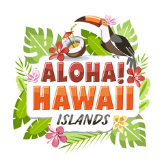 Aloha Hawaii sticker header lettering with toucan and tropical leaves background