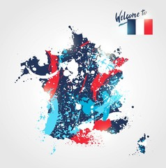 Welcome to France. Colorful France map with  flag and paint/ink splashes. Welcome to inscription. Vector illustration