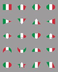 Basic set of geometric shapes in Italy National flag