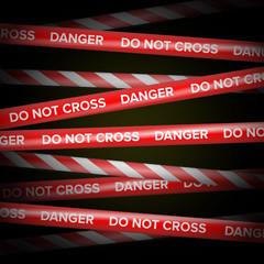 Danger Tape Vector. Red And White Lines. Do Not Cross, Danger, Do Not Enter, Caution. Dark Background