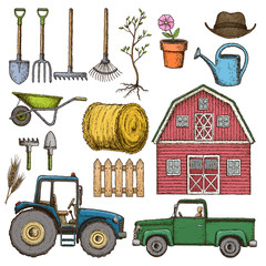 Set of sketch colorful farming equipment icons. Farming tools and agricultural machines. Vector