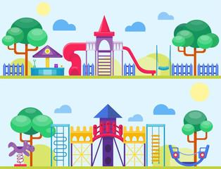 Children playground fun childhood play park activity flat vector illustration