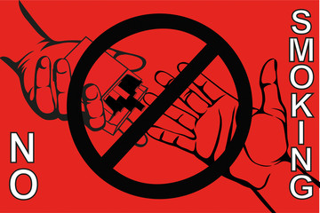 No smoke. Reject the offer of cigarettes. The concept of tobacco control.  Vector. Poster