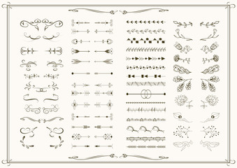 Big set of graphic elements for wedding, invitation, save the date cards. Hand drawn. Vector