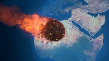 3D illustration of a meteorite burning up in the earth's mesosphere