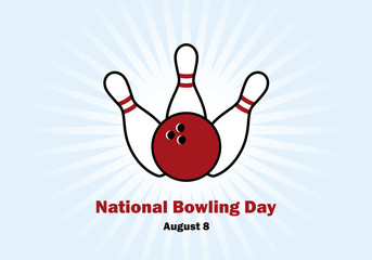 National Bowling Day vector. Bowling and bowling pins. Important day