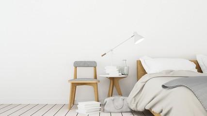 Bedroom interior space in hotel - 3D Rendering