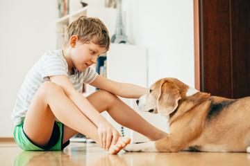Boy and dog sits on the floor at home