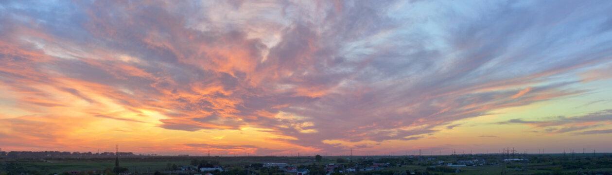 Dramatic sunset over city