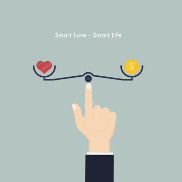 Human hand with heart sign and money coin icon.Smart love and Smart life concept.Work life balance concept.Vector illustration.