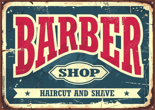 barber shop hipster haircut and shave vintage sign template