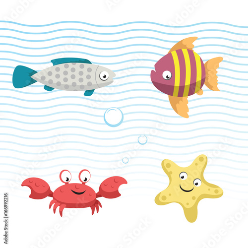 cute coral reef fishes vector illustration icons set collection of